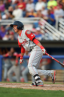 Lowell Spinners shortstop Mauricio Dubon (7) at bat during a game against the Batavia Muckdogs on July 18, 2014 at Dwyer Stadium in Batavia, New York.  Lowell defeated Batavia 11-2.  (Mike Janes/Four Seam Images)