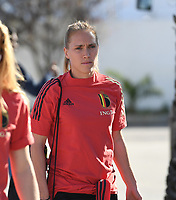 20200310  Lagos , Portugal : Belgian Janice Cayman (11)pictured prior to the female football game between the national teams of Belgium called the Red Flames and Denmarkl on the third and last matchday for the 5th or 6th place of the Algarve Cup 2020 , a prestigious friendly womensoccer tournament in Portugal , on tuesday 10 th March 2020 in Lagos , Portugal . PHOTO SPORTPIX.BE | DAVID CATRY