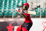 Kary Chan of Hong Kong Women's team hits a shot during Day 2 of Hong Kong Cricket World Sixes 2017 match between Hong Kong Women's Team vs The Dragons Team at Kowloon Cricket Club on 29 October 2017, in Hong Kong, China. Photo by Vivek Prakash / Power Sport Images