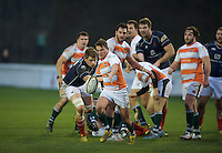 Luke Daniels of Ealing Trailfinders clears the ball during the Greene King IPA Championship match between London Scottish Football Club and Ealing Trailfinders at Richmond Athletic Ground, Richmond, United Kingdom on 26 December 2015. Photo by Alan  Stanford / PRiME Media Images