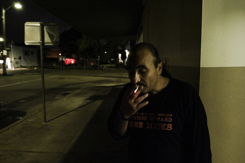 Habib smokes a cigarette during a break from a campaign meeting in Lidcombe, Western Sydney, March 2007.