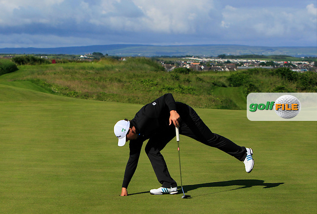 Colm Campbell Jnr. (Warrenpoint) on the 3rd green during Round 3 of Matchplay in the North of Ireland Amateur Open Championship at Portrush Golf Club, Portrush on Thursday 14th July 2016.<br /> Picture:  Thos Caffrey / www.golffile.ie