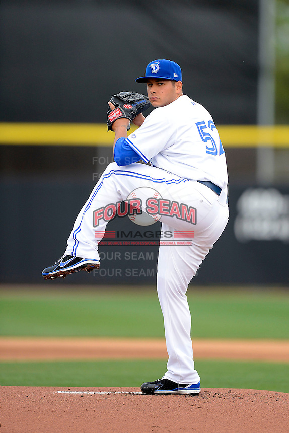 Dunedin Blue Jays pitcher Jesse Hernandez #52 during a game against the Clearwater Threshers at Florida Auto Exchange Stadium on April 4, 2013 in Dunedin, Florida.  Dunedin defeated Clearwater 4-2.  (Mike Janes/Four Seam Images)