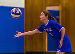 2 November 2014: Yeshiva University Maccabee Middle Blocker Shana Wolfstein, a Senior from Burlington,VT, in action against the Sarah Lawrence Gryphons at SUNY Purchase College, in Purchase, NY. The Maccabees defeated the Gryphons 3-2 in the NCAA Division III Women's Volleyball Skyline matchup. Wolfstein ended her 2014 season with 17 Kills, 56 Digs, 3 Blocks and 5 Aces for the Lady Macs. Mandatory Credit: Ed Wolfstein Photo *** RAW (NEF) Image File Available ***