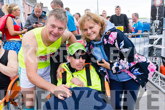 Gerard O'Grady with Luc and Megs Graham (from Dingle) at the start of the Dingle Marathon on Saturday morning.