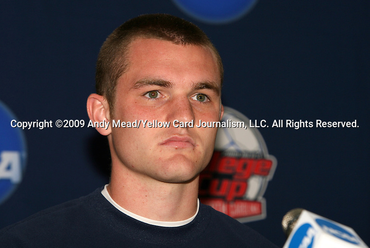 10 December 2009: Freshman forward Will Bates. The University of Virginia Cavaliers held a press conference at WakeMed Soccer Stadium in Cary, North Carolina on the day before playing Wake Forest in an NCAA Division I Men's College Cup semifinal game.