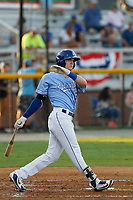 Burlington Royals outfielder Jackson Lueck (34) at batduring a game against the Kingsport Mets at Burlington Athletic Complex on July 28, 2018 in Burlington, North Carolina. Burlington defeated Kingsport 4-3. (Robert Gurganus/Four Seam Images)