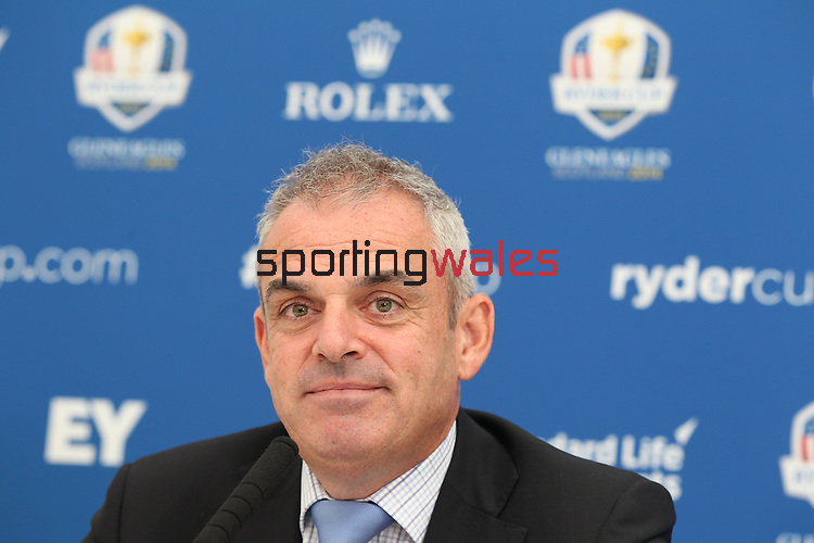 ISPS Handa Wales Open<br /> Ryder Cup Captain Paul McGinley speaking at a press conference.<br /> Celtic Manor Resort<br /> 17.09.14<br /> ©Steve Pope-SPORTINGWALES
