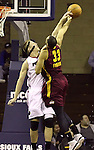 SIOUX FALLS, SD - FEBRUARY 11:  Justin Hamilton #33 from the Sioux Falls Skyforce blocks the shot of Shane Edwards #33 from the Canton Charge in the first quarter of their game Tuesday night at the Sanford Pentagon. (Photo by Dave Eggen/Inertia)