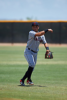 AZL Indians Red second baseman Jothson Flores (9) throws to first base during an Arizona League game against the AZL Indians Blue on July 7, 2019 at the Cleveland Indians Spring Training Complex in Goodyear, Arizona. The AZL Indians Blue defeated the AZL Indians Red 5-4. (Zachary Lucy/Four Seam Images)