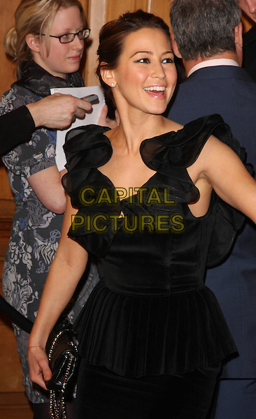 RACHEL STEVENS .South Bank Show Awards at the Dorchester Hotel, Park Lane, London, England. .January 20th 2009.southbank half length black dress ruffled ruffles .CAP/ROS.©Steve Ross/Capital Pictures.