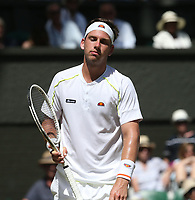 Cameron Norrie (GBR) during his match against Kei Nishikori (JPN) in their Gentleman's Singles Second Round match<br /> <br /> Photographer Rob Newell/CameraSport<br /> <br /> Wimbledon Lawn Tennis Championships - Day 4 - Thursday 4th July 2019 -  All England Lawn Tennis and Croquet Club - Wimbledon - London - England<br /> <br /> World Copyright © 2019 CameraSport. All rights reserved. 43 Linden Ave. Countesthorpe. Leicester. England. LE8 5PG - Tel: +44 (0) 116 277 4147 - admin@camerasport.com - www.camerasport.com