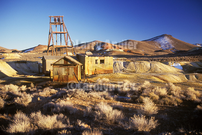 Gold mine headframe and surface works buildings, Goldfield, Nev.