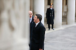 Italian Prime Minister and Democratic Party (PD) leader Matteo Renzi arrive at Doge's Palace for the 33th Italo-French summit, in Venice on March 8, 2016.