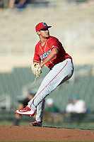 Lakewood BlueClaws relief pitcher Julian Garcia (24) in action against the Kannapolis Intimidators at Kannapolis Intimidators Stadium on July 8, 2018 in Kannapolis, North Carolina.  The BlueClaws defeated the Intimidators 4-3.  (Brian Westerholt/Four Seam Images)