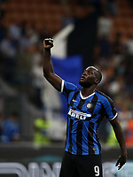 Calcio, Serie A: Inter Milano - Lecce, Giuseppe Meazza stadium, September 26 agosto 2019.<br /> Inter's Romelu Lukaku celebrates after winning 4-0 the Italian Serie A football match between Inter and Lecce at Giuseppe Meazza (San Siro) stadium, September August 26,, 2019.<br /> UPDATE IMAGES PRESS/Isabella Bonotto