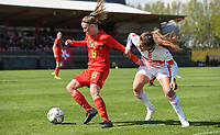 20190403  - Tubize , BELGIUM : Belgian Stephanie Pirotte (L) and Swiss Stephanie Waeber (R) pictured during the soccer match between the women under 19 teams of Belgium and Switzerland , on the first matchday in group 2 of the UEFA Women Under19 Elite rounds in Tubize , Belgium. Wednesday 3 th April 2019 . PHOTO DIRK VUYLSTEKE / Sportpix.be