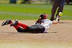 02 June 2017:  Ashley McKinney knocks a sharply hit ball to the dirt and flicks it to 2nd base for a force out.  Goreville Blackcats v Heyworth Hornets class 1A IHSA Class 1A Softball Semi-Final at Eastside Centre in East Peoria Illinois