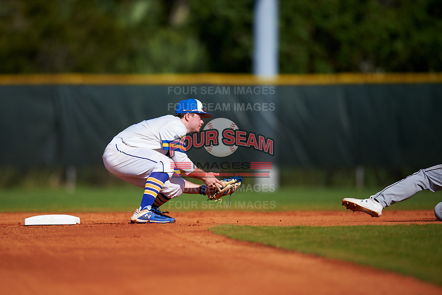 South Dakota State Jackrabbits second baseman Braeden Brown (32) looks to tag a base runner during a game against the Northeastern Huskies on February 23, 2019 at North Charlotte Regional Park in Port Charlotte, Florida.  Northeastern defeated South Dakota State 12-9.  (Mike Janes/Four Seam Images)