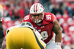 Wisconsin Badgers defensive lineman Olive Sagapolu (99) during an NCAA College Big Ten Conference football game against the Iowa Hawkeyes Saturday, November 11, 2017, in Madison, Wis. The Badgers won 38-14. (Photo by David Stluka)