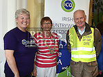 Ann Shortt, Susan Potts Louth Federation President ICA and Noel Heeney who took part in the Alzheimers Charity walk at An Grianan.  Photo:Colin Bell/pressphotos.ie