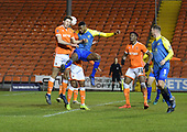 18/12/18 The Emirates FA Cup, 2nd Round Replay Blackpool v Solihull Moor<br /> <br /> Ben Heneghan challenges with Tyrone Williams