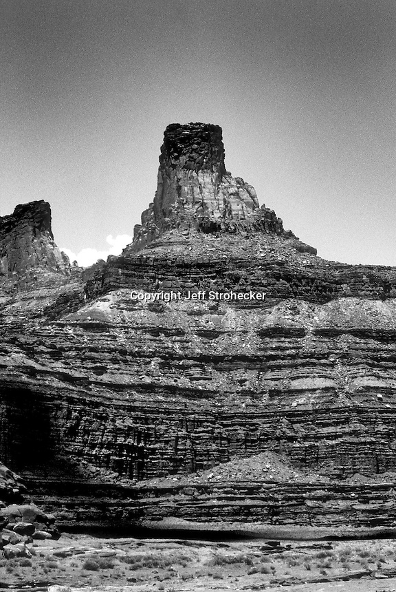 Black and white version of a color infra-red image of isolated desert canyon in Canyon Lands, Utah.