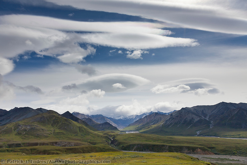Clouds over the Alaska Range mountains, gorge creek, sunrise creek and the thorofare river, Denali National Park, Interior, Alaska.