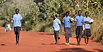 Children walking to school in the morning in Pisak, a village in Southern Sudan. NOTE: In July 2011 Southern Sudan became the independent country of South Sudan.