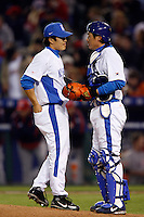 Byung-Hyun Kim and In-Sung Cho of Korea during the World Baseball Championships at Angel Stadium in Anaheim,California on March 13, 2006. Photo by Larry Goren/Four Seam Images