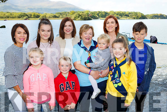 Maura Fitzgerald standing centre celebrated her 50th year service with the Killarney District Girl Guides in Ross Castle on Sunday with her family front l-r: Aisling and Eoin Bisby. Back row: Niamh and Eabha Dwyer, Roisin Kivlehan, Molly and Ciara Bisby and Oran Dwyer
