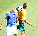 26 June 2006: Fabio Cannavaro (ITA) (5) wins a header against Australia. Italy (1st place in Group E) defeated Australia (2nd place in Group F) 1-0 at Fritz-Walter Stadion in Kaiserslautern, Germany in match 53, a Round of 16 game, in the 2006 FIFA World Cup.