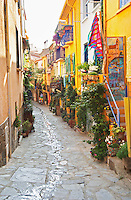 A narrow street in the old town. Collioure. Roussillon. France. Europe.
