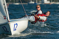 Catherine Corssen,'15, and Sean Beaulieu,'18, take on some rough waters during the Salve Regina Sailing Team practice in the Newport Harbor.
