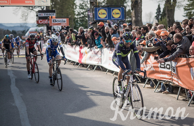 Alejandro Valverde (ESP/Movistar) wins his 5th Fl&eacute;che on top of the infamous Mur de Huy ahead of Dan Martin (IRE/Quickstep Floors) &amp; Dylan Teuns (BEL/BMC)<br /> <br /> 81st La Fl&egrave;che Wallonne (1.UWT)<br /> One Day Race: Binche &rsaquo; Huy (200.5km)