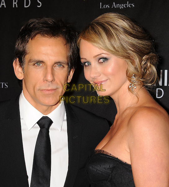 Ben Stiller & Christine Taylor.BAFTA Los Angeles 2011 Britannia Awards held at the Beverly Hilton Hotel, Beverly Hills, California, USA..November 30th, 2011.headshot portrait suit strapless side married husband wife black white tie .CAP/ROT/TM.©Tony Michaels/Roth Stock/Capital Pictures