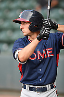 Shortstop AJ Graffanino (16) of the Rome Braves waits in the on-deck circle before a game against the Greenville Drive on Wednesday, July 11, 2018, at Fluor Field at the West End in Greenville, South Carolina. He is the Atlanta Braves' 2018 eighth-round draft pick. (Tom Priddy/Four Seam Images)