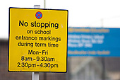 No Stopping sign outside a school in Fordmill Road, Lewisham, London.