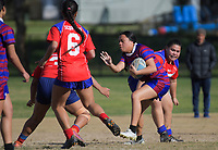 Moanekah Va'ai (Richmond) during the Auckland Rugby League Girls Pilot under-17 match between Otara Scorpions and Richmond at Ngati Otara Park in Auckland, New Zealand on Saturday, 9 June 2018. Photo: Dave Lintott / lintottphoto.co.nz