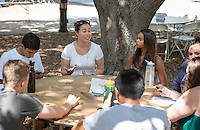 Diana Keeler, Manager of Digital Production. Incoming first years meet with their faculty advisors during the Major Information Sessions & Advising part of Orientation in the Academic Quad, Aug. 24, 2015.<br /> (Photo by Marc Campos, Occidental College Photographer)