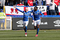 Goalscorer Danny Whitaker celebrates after scoring the opening goal during Macclesfield Town vs Leyton Orient, Vanarama National League Football at the Moss Rose Stadium on 14th April 2018