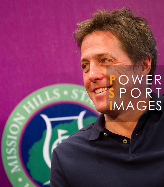 HAIKOU, CHINA - OCTOBER 28:  Hollywood actor Hugh Grant of Great Britain attends a press conference during the Mission Hills Star Trophy on October 28, 2010 in Haikou, China. The Mission Hills Star Trophy is Asia's leading leisure liflestyle event and features Hollywood celebrities and international golf stars. Photo by Victor Fraile / The Power of Sport Images