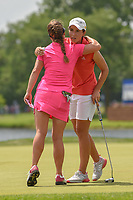 Carlota Ciganda (ESP) hugs Dani Holmqvist (SWE) following  round 4 of the 2018 KPMG Women's PGA Championship, Kemper Lakes Golf Club, at Kildeer, Illinois, USA. 7/1/2018.<br /> Picture: Golffile | Ken Murray<br /> <br /> All photo usage must carry mandatory copyright credit (&copy; Golffile | Ken Murray)