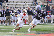 College Park, MD - February 18, 2017: Maryland Terrapins Isaiah Davis-Allen (26) tries to avoid High Point Panthers Tanner Landstra (24) during game between High Point and Maryland at  Capital One Field at Maryland Stadium in College Park, MD.  (Photo by Elliott Brown/Media Images International)