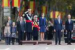 King Felipe VI of Spain, Princess Sofia of Spain, Princess Leonor of Spain and Queen Letizia of Spain during Spanish National Day military parade in Madrid, Spain. October 12, 2015. (ALTERPHOTOS/Pool)