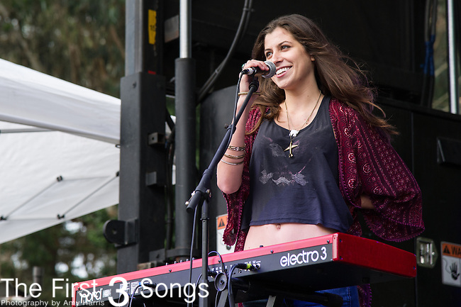 Katie Toupin of Houndmouth performs at the Outside Lands Music & Art Festival at Golden Gate Park in San Francisco, California.