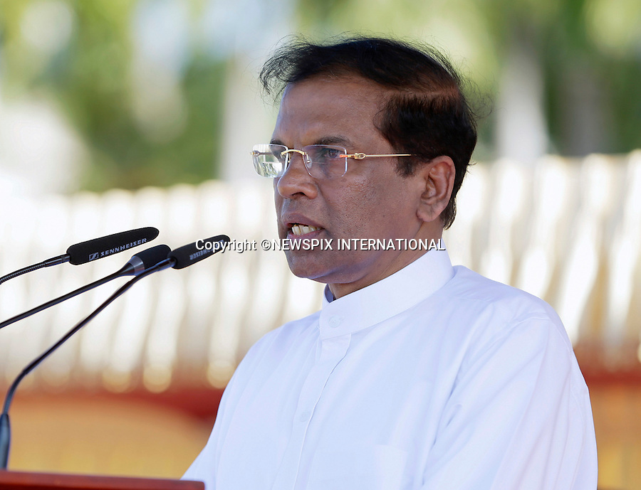 13.01.2015; Colombo, Sri Lanka: SRI LANKA'S NEWPRESIDENT MAITHRIPALA SIRISENA<br /> welcomes Pope Francis at the start of his 3-day State Visit to Sri Lanka.<br /> While in Sri Lanka, Pope Francis will perform the Canonization of Blessed Joseph Vaz and visit the Madhu Shrine in the predominantly Tamil area of the country.<br /> The Pope then continues his Asian tour with a visit to the Philipines.<br /> Mandatory Photo Credit: &copy;NEWSPIX INTERNATIONAL<br /> <br /> **ALL FEES PAYABLE TO: &quot;NEWSPIX INTERNATIONAL&quot;**<br /> <br /> PHOTO CREDIT MANDATORY!!: NEWSPIX INTERNATIONAL(Failure to credit will incur a surcharge of 100% of reproduction fees)<br /> <br /> IMMEDIATE CONFIRMATION OF USAGE REQUIRED:<br /> Newspix International, 31 Chinnery Hill, Bishop's Stortford, ENGLAND CM23 3PS<br /> Tel:+441279 324672  ; Fax: +441279656877<br /> Mobile:  0777568 1153<br /> e-mail: info@newspixinternational.co.uk