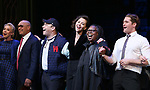 Julie Halston, Reggie Jackson, Danny Burstein, Maggie Gyllenhaal, Whoopi Goldberg, Matthew Morrison during the Curtain Call for the Roundabout Theatre Company presents a One-Night Benefit Concert Reading of 'Damn Yankees' at the Stephen Sondheim Theatre on December 11, 2017 in New York City.
