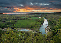 Buffalo National River, Arkansas:<br /> Sunset clouds over the Buffalo River near Tyler Bend