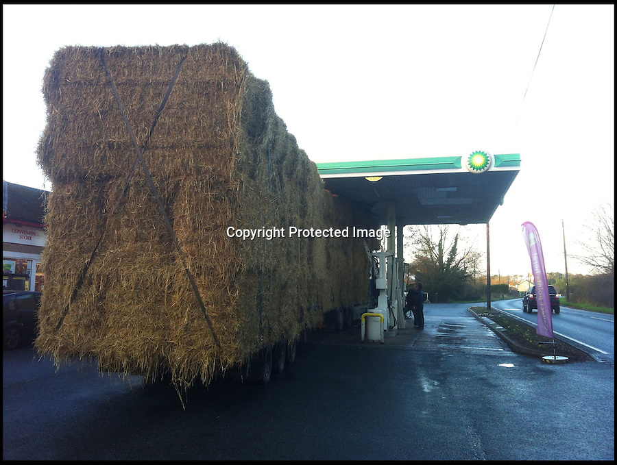 BNPS.co.uk (01202 558833)<br /> Pic: LukeWoods/BNPS<br /> <br /> ***Please use full byline***<br /> <br /> A hapless driver got himself in a pickle when his lorry got stuck underneath the canopy of Windmill Garage in Offwell nr Honiton, Devon today. <br /> <br /> Photographer Luke Woods snapped the pic after asking the driver if he needed any help, and then went on his way.